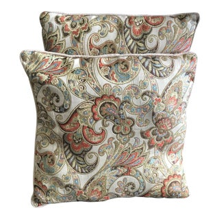 Woven Pansy Pattern Custom Floral Tapestry Decorative Pillows - a Pair