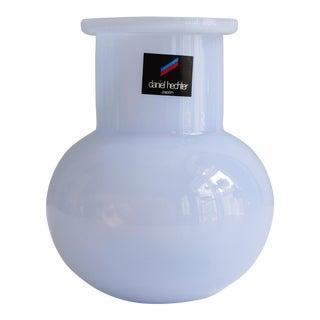 Vintage Daniel Hechter Japan Art Glass Vase Opalescent Blue