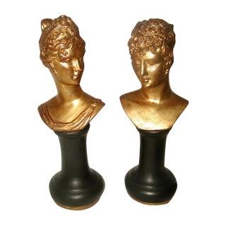 Roman Gilt Porcelain Busts - A Pair