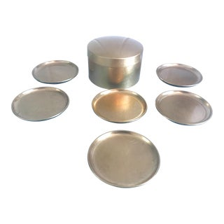 Gold Lacquer Coaster Set - Set of 6