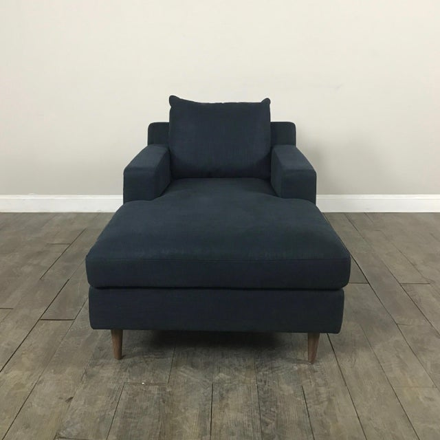 Image of Modern Navy Chaise Lounge Sofa