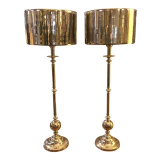 Arteriors Reflective Silver Metal Table Lamps- A Pair