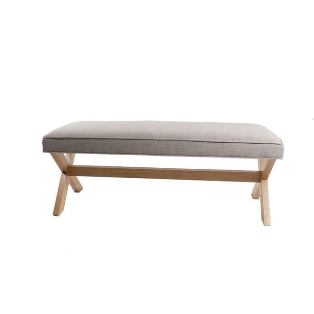 Image of X-Wood Base and Upholstered Top Bench
