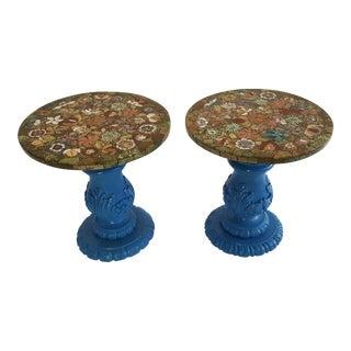 Pietra Dura Semi-Precious Stone Side Tables - a Pair