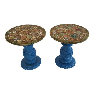 Pietra Dura Semi-Precious Stone Side Tables - a Pair