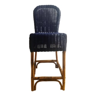 Navy Blue Wicker & Bamboo Chair