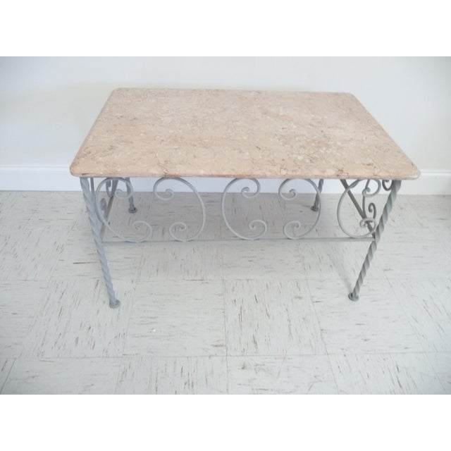 Vintage Iron & Marble Coffee Table - Image 3 of 9