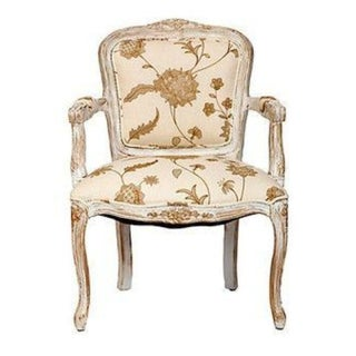 French Arm Chair in White and Gold Linen