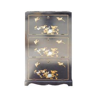 Chinese Black Vinyl Flower Shoes Storage Cabinet
