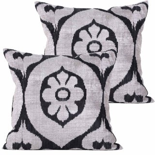 Euro Allary Silk Velvet Ikat Pillows - Pair