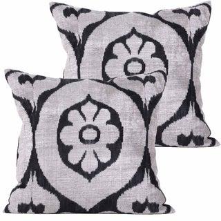 Euro Allary Silk Velvet Ikat Pillows - Pair
