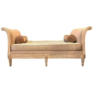 Louis XVI Style Chaise Longue Daybed in Cream Finish with Rolled Arms
