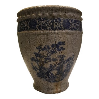 Planter With Blue Pastoral Scene