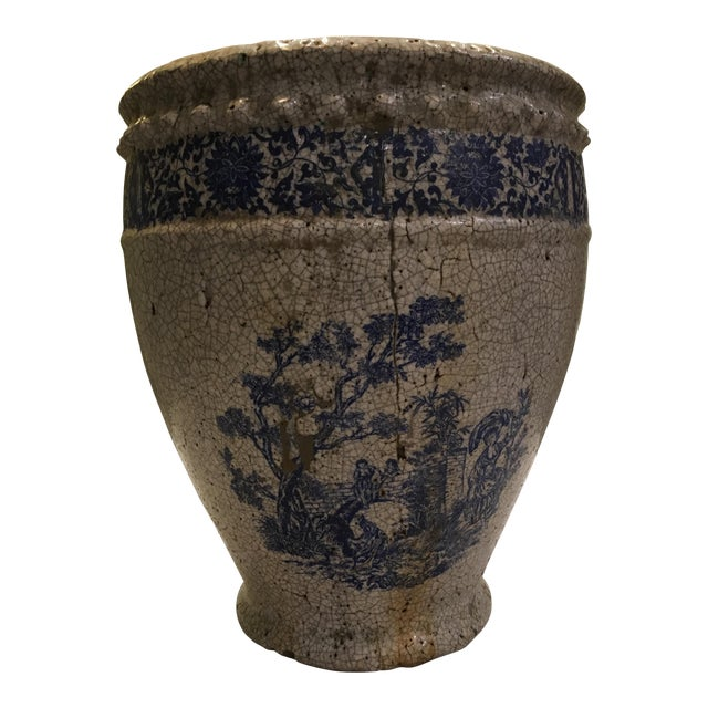 Planter With Blue Pastoral Scene - Image 1 of 10