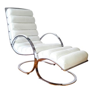 Milo Baughman Cantilevered Lounge Chair with Ottoman