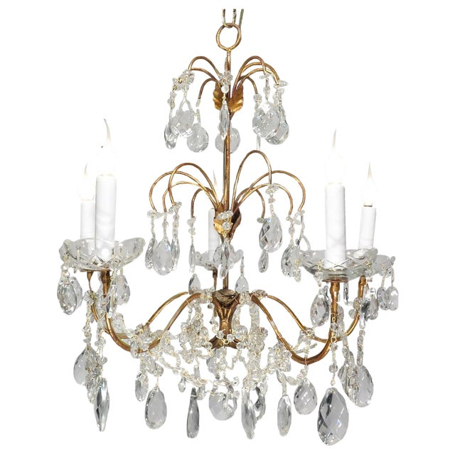 Vintage Chandelier Gold Fixture Dripping Crystals - Image 1 of 6