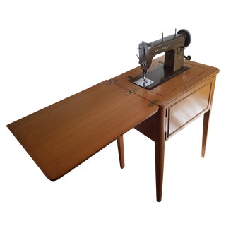 Mid-Century New Home Sewing Machine With Cabinet