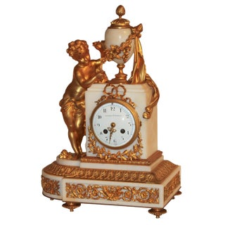 Fine French Gilt Bronze & Marble Mantel Clock