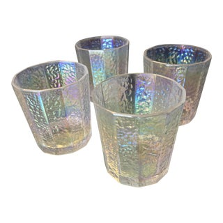 Vintage Carnival Glass Candle Votive Set