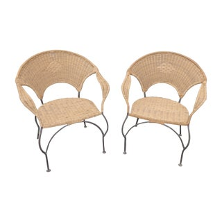 Wrought Iron & Wicker Armchairs - A Pair