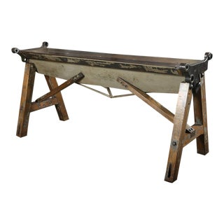 Rustic Antique Industrial Cast Iron, Steel & Wood Factory Brake Table - Stand