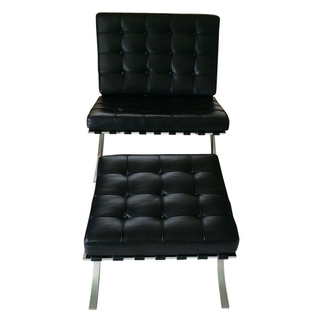 Leather Barcelona Chair & Ottoman by Alivar - Image 1 of 7