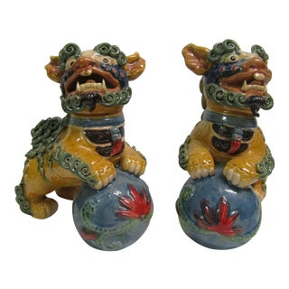 Detailed Colorful Foo Dogs - A Pair