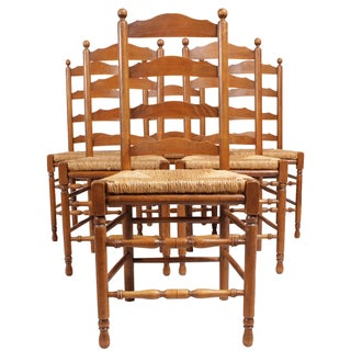 French Ladder Back Dining Chairs - Set of 6
