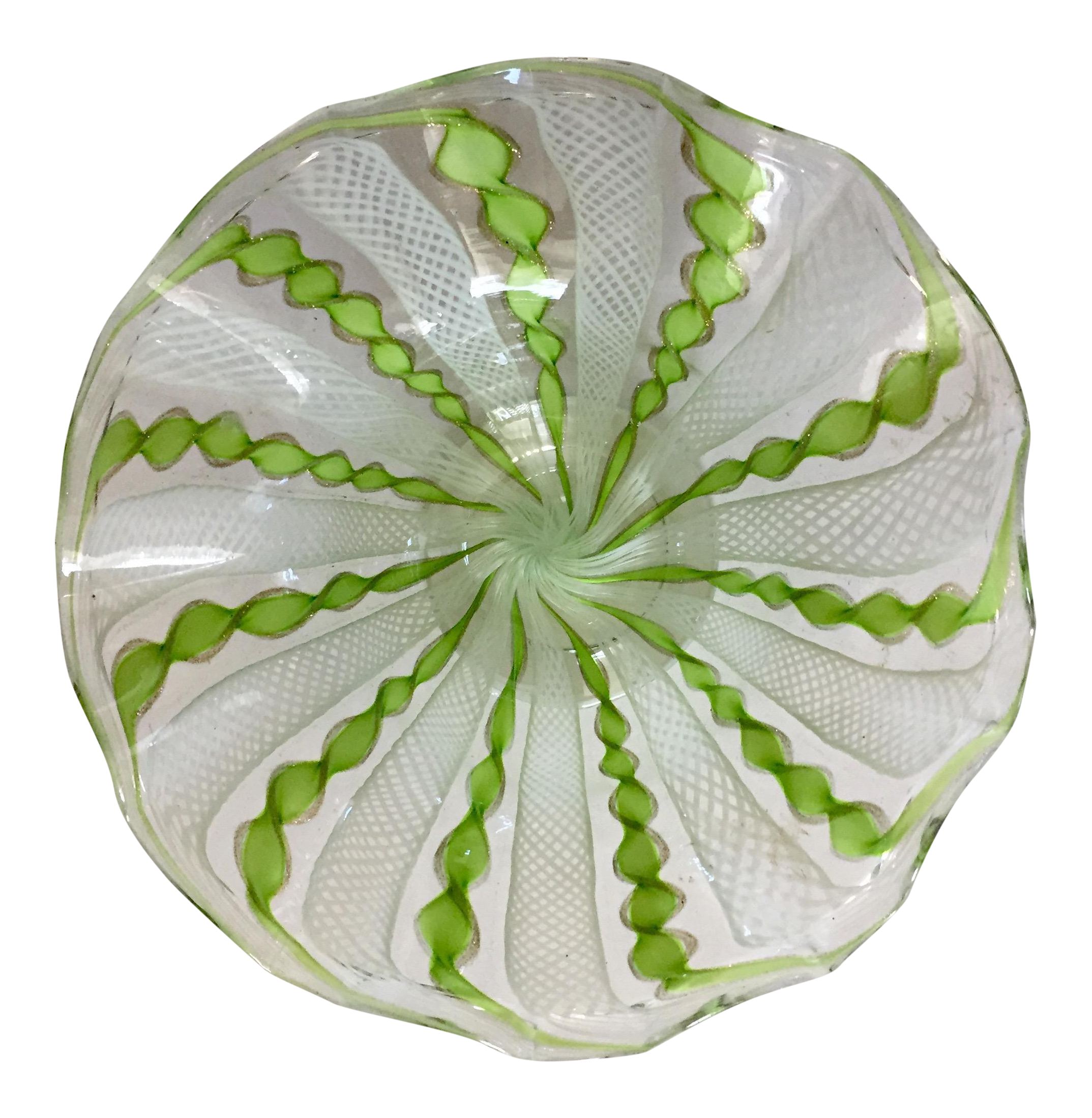 ruff hair styles vintage glass lime green amp white swirl ruffled edge 8884