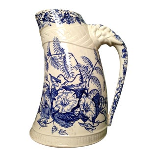 Antique Blue Transfer Ware Curved Pitcher