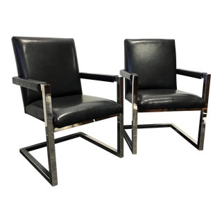 Polo Ralph Lauren by Henredon Chrome & Leather Club Chairs - A Pair