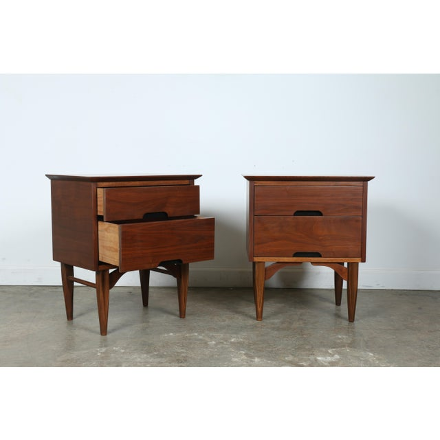 Mid-Century Walnut Nightstands - A Pair - Image 2 of 11
