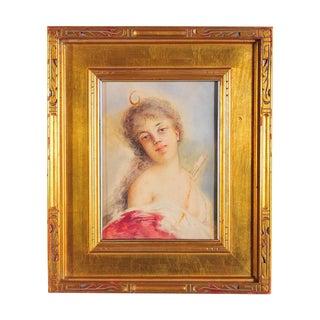 19th C. Female Huntress Portrait Painting
