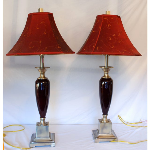 Brushed Steel Transitional Maroon Lamps - Image 2 of 7