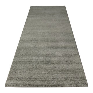 Contemporary Gray & White Striped Rug - 2'8'' x 10'