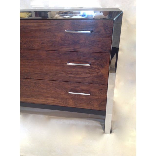 Milo Baughman-Style Rosewood & Chrome Dresser - Image 4 of 10