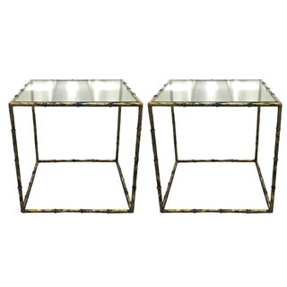 Gilt Bamboo & Glass Cube Tables - A Pair