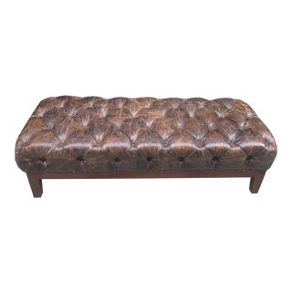Brown Distressed Tufted Leather Bench