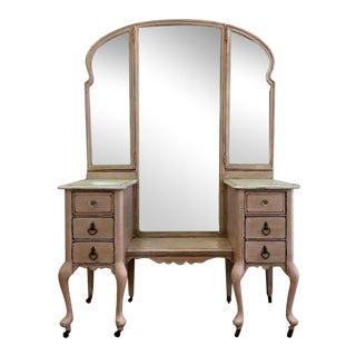 Vintage Vanity With Tri-Fold Mirrors