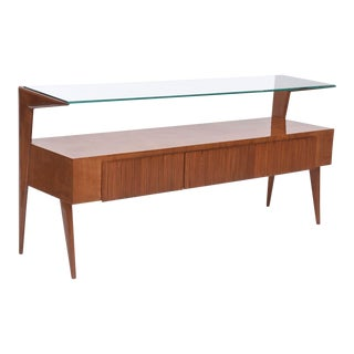 Italian Modern Walnut and Glass Top Two-Tiered Low Table, Paulo Buffa Attributed