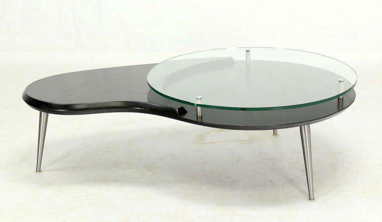 midcentury modern organic kidney shape elevated glasstop coffee table
