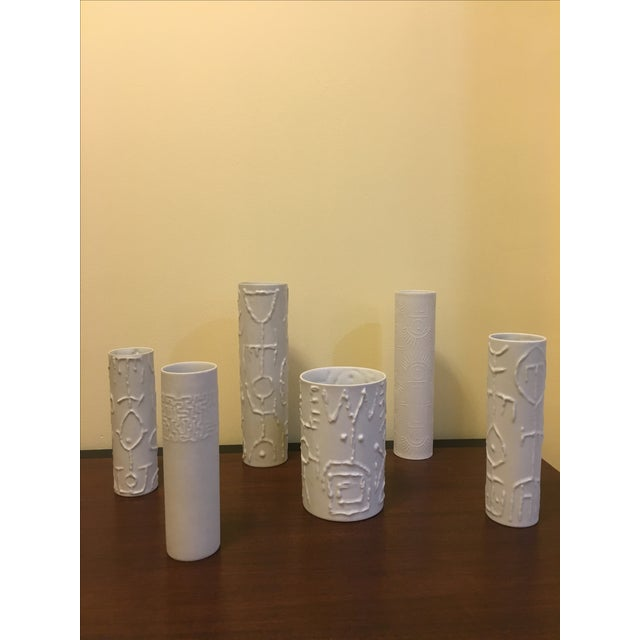 Image of Cuno Fischer Porcelain Tribal Vases - Set of 6