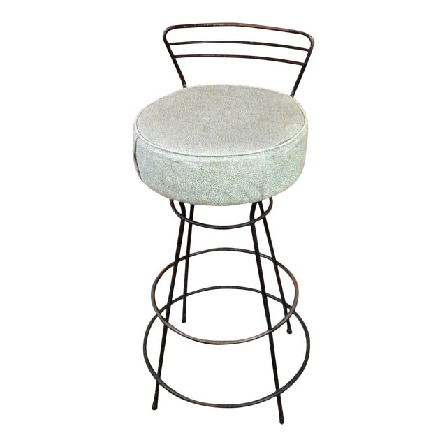 Mid-Century Modern Wrought Iron Stool - Image 1 of 10