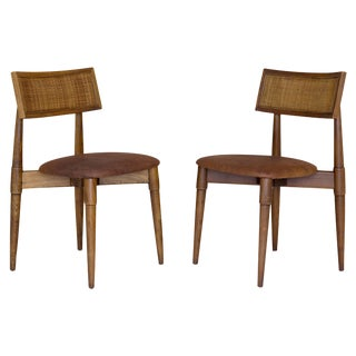 Mid-Century Caned Side Chairs - A Pair