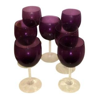 S/7 Vintage Mid-Century Modern Goblets in a Deep Purple from Sakowitz