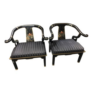 Century Furniture James Mont Style Lacquered Asian Horseshoe Chairs - A Pair