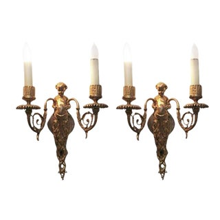 Double Arm Putti Bronze Sconces - A Pair