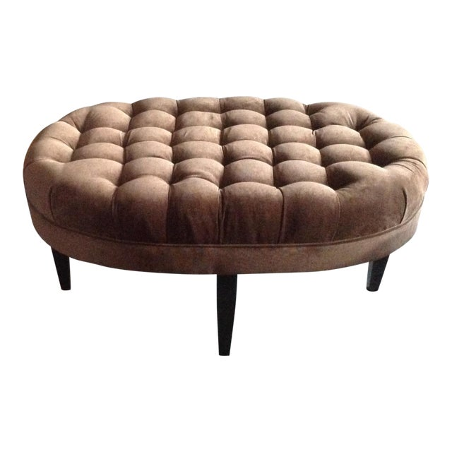 Contemporary Tufted Oval Ottoman - Image 2 of 5