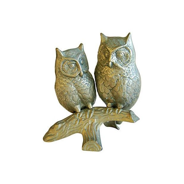 Mid-Century Modern Brass Owls on Branch Statue - Image 6 of 6