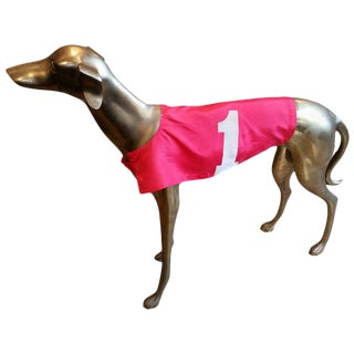 Life-Size Mid-Century Brass Greyhound With Racing Jacket